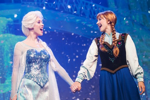 "Royal sisters Queen Elsa and Princess Anna, from the Disney hit animated motion picture ""Frozen,"" join the Royal Historians of Arendelle for  a hilarious and interactive retelling of the ""Frozen"" story in ""For the First Time in Forever – a 'Frozen' Sing-Along Celebration"" at Disney's Hollywood Studios guests. The 30-minute show is presented multiple times daily inside Premiere Theater, inviting guests to sing along to the chart-topping soundtrack. Disney's Hollywood Studios is one of four theme parks at Walt Disney World Resort in Lake Buena Vista, Fla. (Chloe Rice, photographer)"