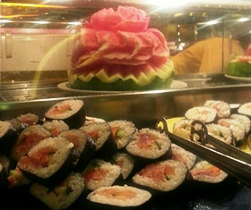 Sushi station at The Buffet at Harrah's casino hotel in southern California.