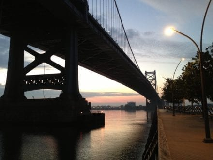 Race Street Pier Park at dawn. Photo: Philadelphia Traveling Mom Sarah Ricks
