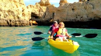 Kayaking through spectacular caves in Lagos.