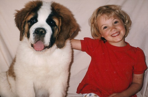 My daughter Sondra with our St. Bernard