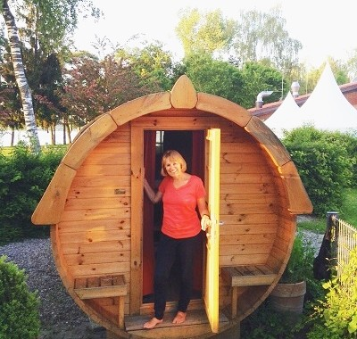 Our amazing barrel sleeping cabin!