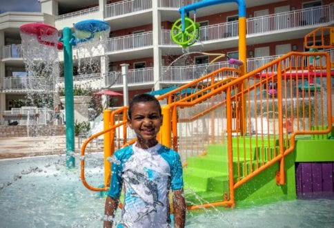 The pools and water playground at the Embassy Suites Orlando resort are perfect for swimmers and non-swimmers alike.