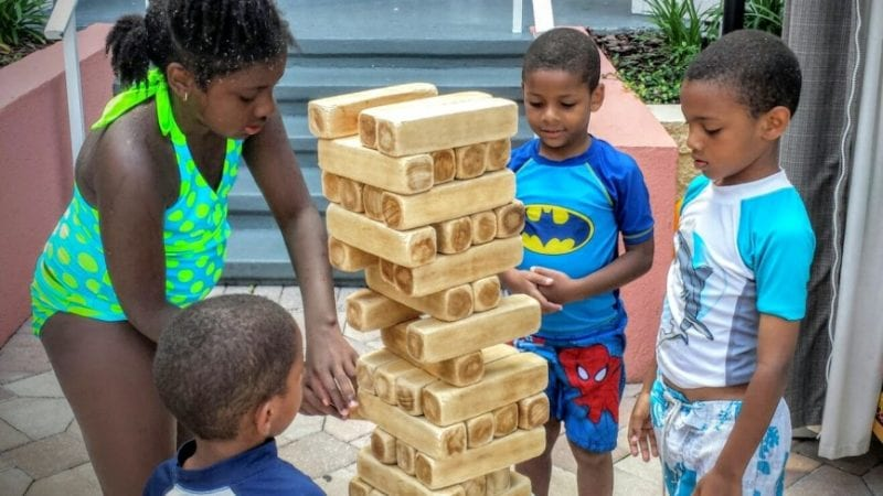 The Embassy Suites Orlando offered many poolside activities like a giant game of Jenga!