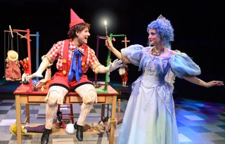 Andrew Spatafora and Dara Cameron perform in Pinocchio!, currently playing at Marriott Theatre in Lincolnshire. (Photo courtesy of Marriott Theatre.)