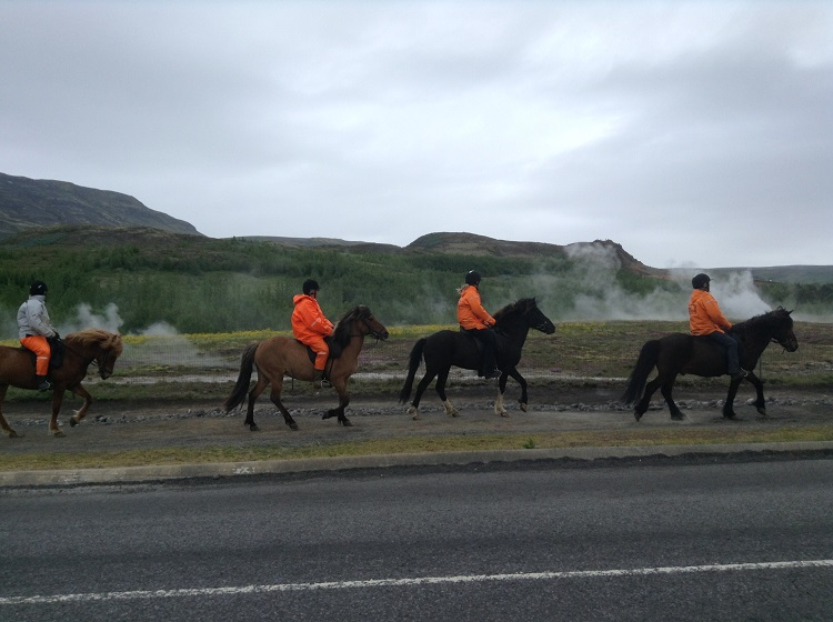 Horseback riding past geysers is a popular activity