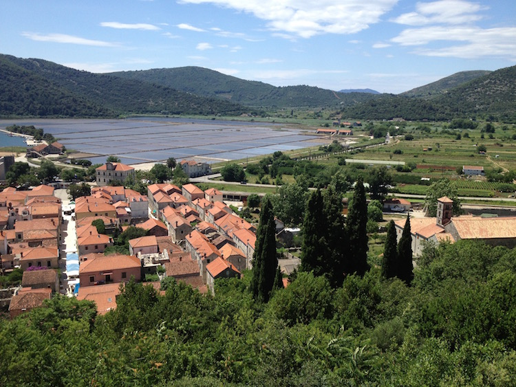 View of Ston, Croatia and its salt production area, from the fortress wall (Photo Philadelphia Traveling Mom Sarah Ricks)