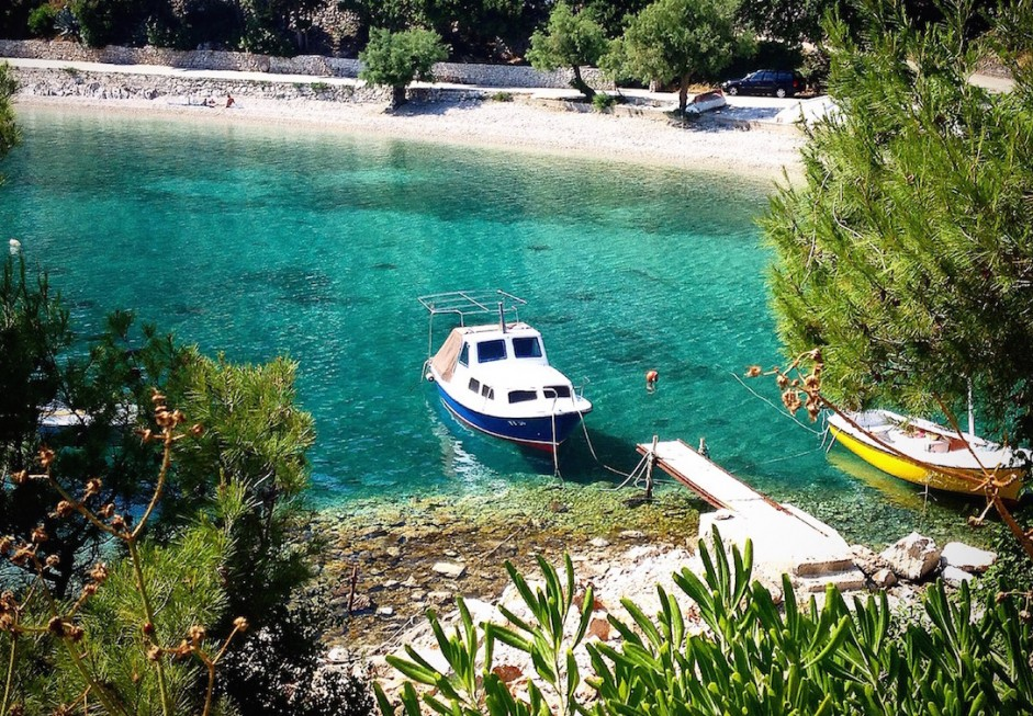 The water in Trstenik, Croatia really is this color (Photo Philadelphia Traveling Mom Sarah Ricks)
