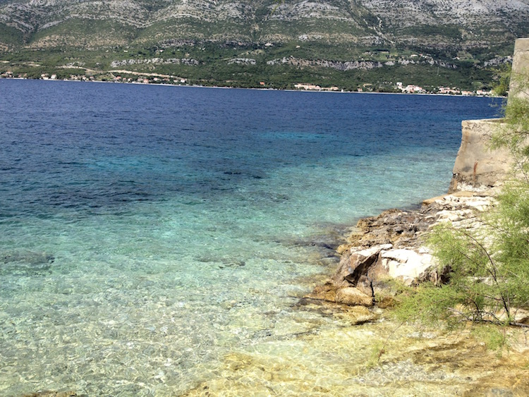 The clean clear water really is this color all along the coast. Korcula, Croatia. (Photo Philadelphia Traveling Mom Sarah Ricks)