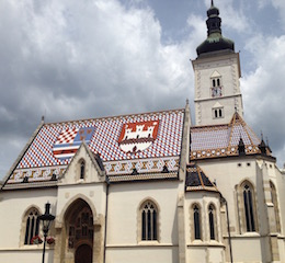 The iconic roof of St. Marks Church in Zagreb (Photo Philadelphia Traveling Mom)