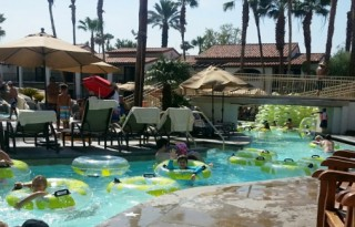 The lazy river at Rancho Las Palmas. Photo credit: Gwen Kleist, Healthy TravelingMom.