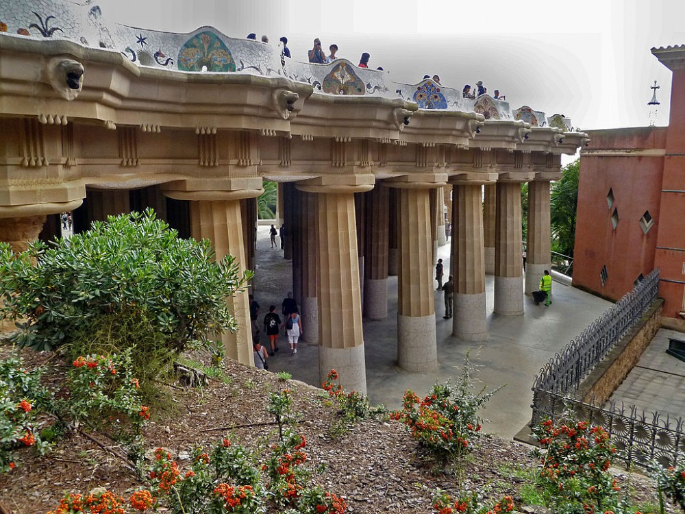Parc Guell in Barcelona, Spain. Photo by Georges Jansoone via Wikimedia Commons