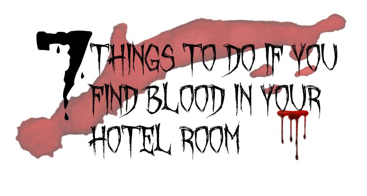 graphic saying 7 things to do if you find blood in your hotel room