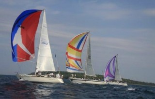 Sail boats on the race from Chicago to Mackinac Island