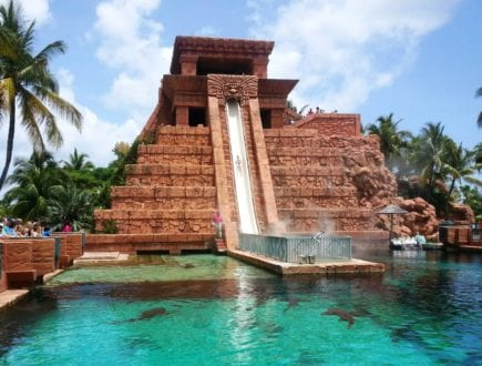 Leap of Faith water slide shoots riders straight through the shark tank at Atlantis. Photo credit: Gwen Kleist, Healthy TravelingMom.