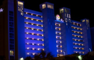 Crown Reef Resort newly renovated in Myrtle Beach, SC Lit up at night