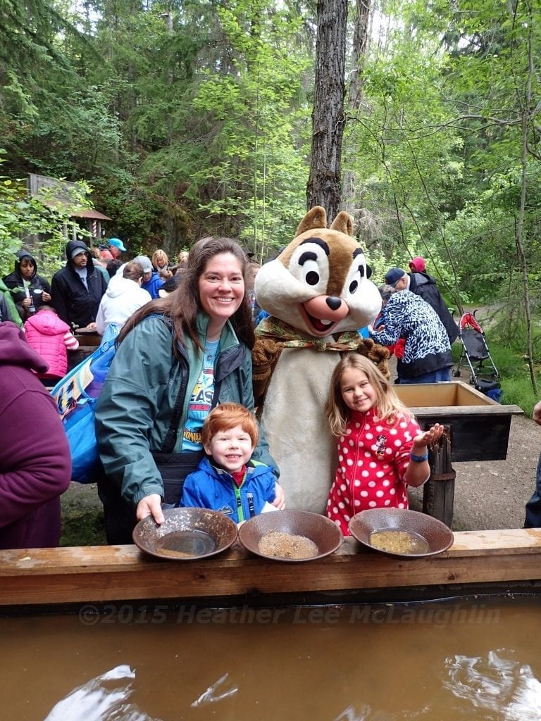 Panning for gems with Chip and Dale during a Disney Alaskan cruise excursion. Photo courtesy of Heather Mc:Laughlin