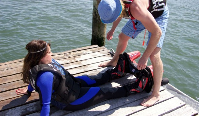 Fran Capo gets geared up for her flyboard adventure.