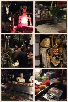 Photo Credit: Heather B/Expat TravelingMom. The stations and entertainment at the Bali themed dinner night.