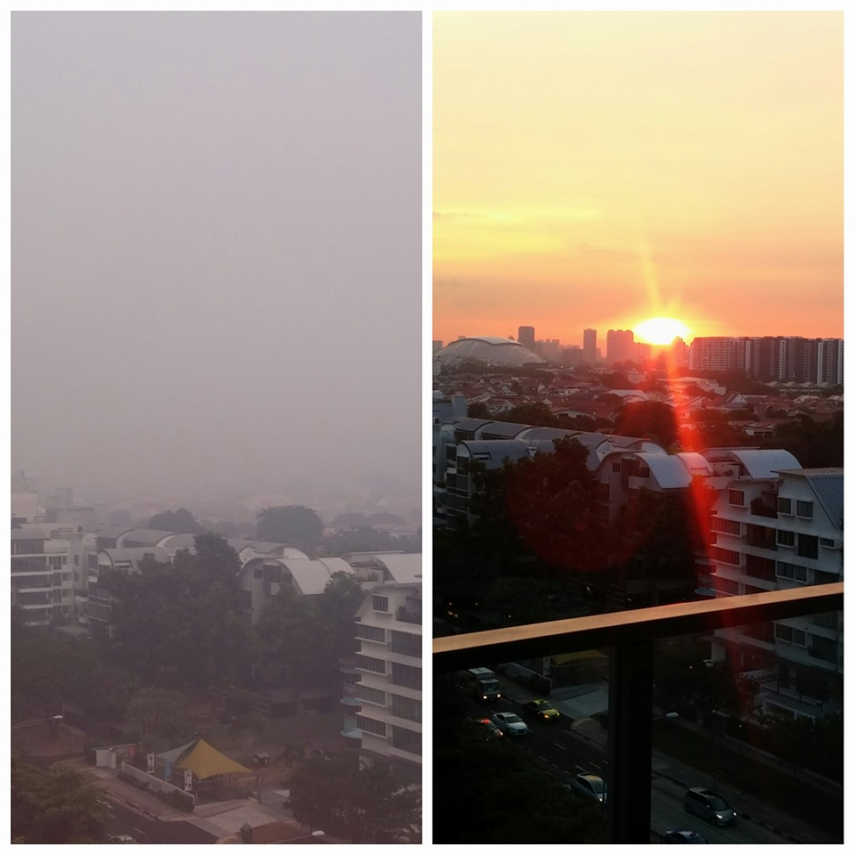 Before and after the haze in Singapore.