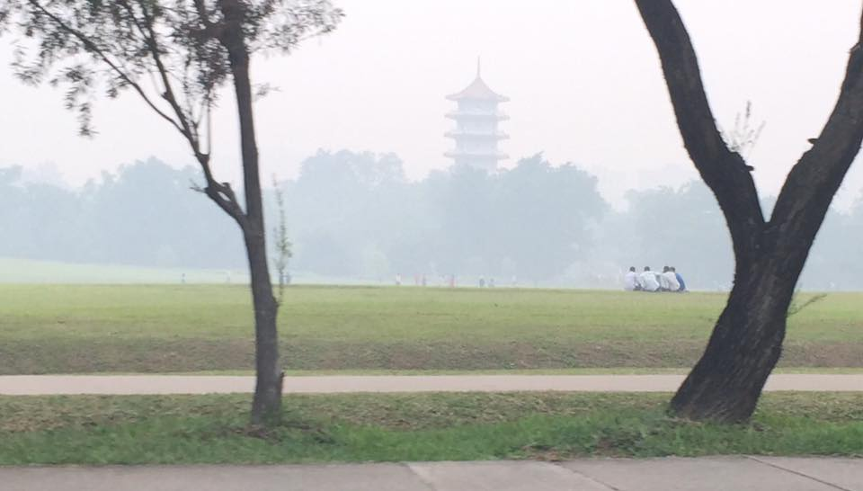 Chinese Gardens through the haze of the poor air quality in Indonesia.