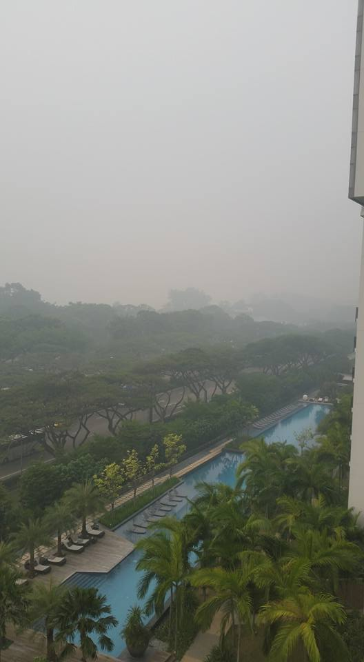 Poor air quality obscures the view in Singapore.