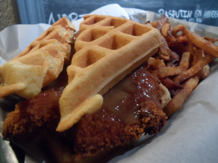 Chicken and Waffle Sandwich from Four Pegs. Photo Courtesy: Allison Taylor