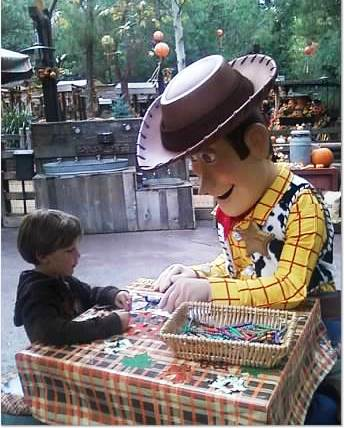 Coloring with Woody at Big Thunder Ranch. Photo credit: Gwen Kleist, Healthy TravelingMom.