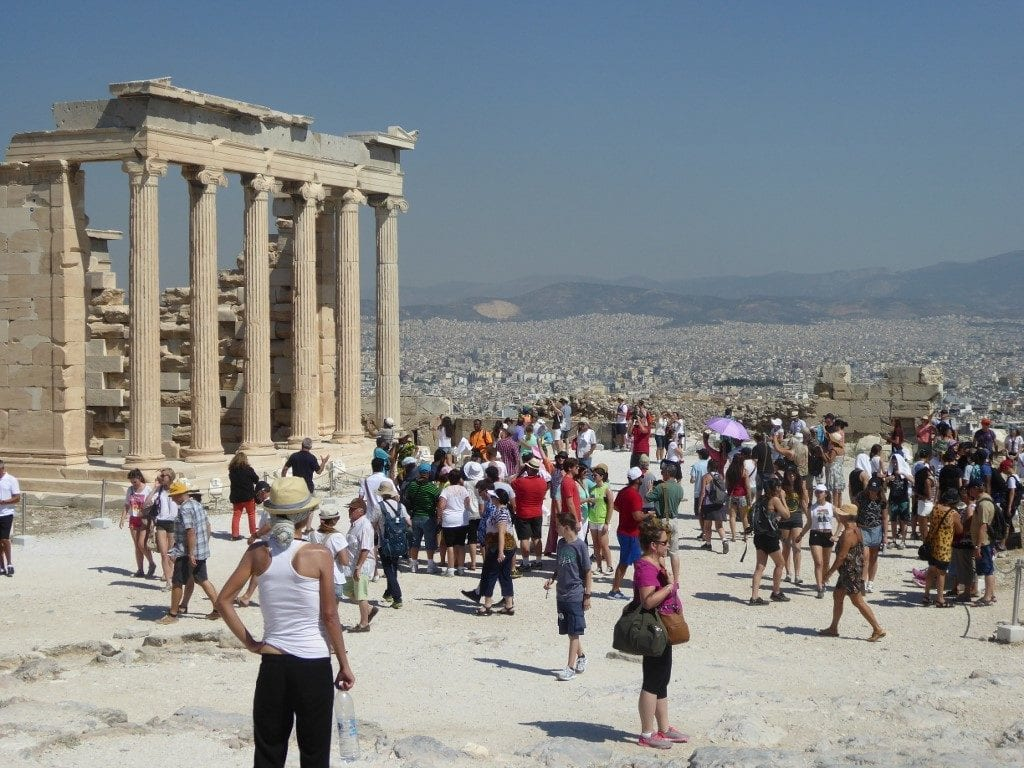 Photo by Jamie Bartosch/Suburban TravelingMom Expect huge crowds at the Acropolis in Athens, Greece.