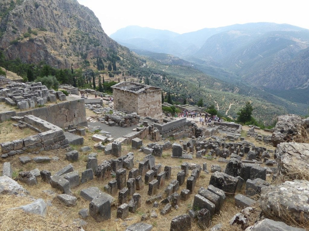 Photo by Jamie Bartosch/Suburban TravelingMom The ruins in Delphi, Greece have a gorgeous mountain backdrop.