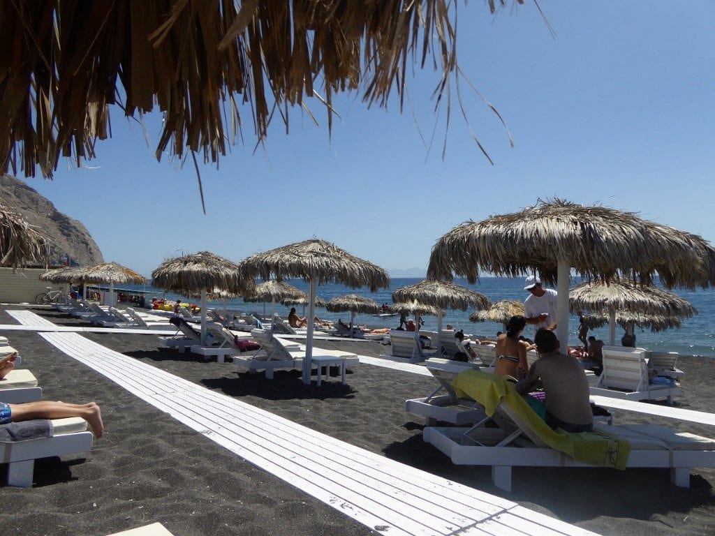 Photo by Jamie Bartosch/Suburban TravelingMom Perissa beach, on the island of Santorini, is the most family-friendly.