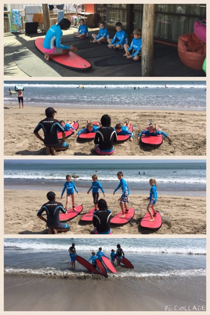 Photo Credit: Heather B/Expat TravelMom. Top to bottom: learning at the school, taking it to the beach and heading for the waves.