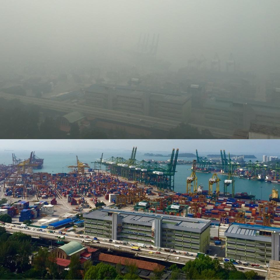 Singapore haze...a normal day vs. today. Photo Credit: Singapore Expat Wives Member