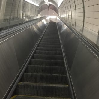 These gleaming new escalators are found at the newest NY subway station.
