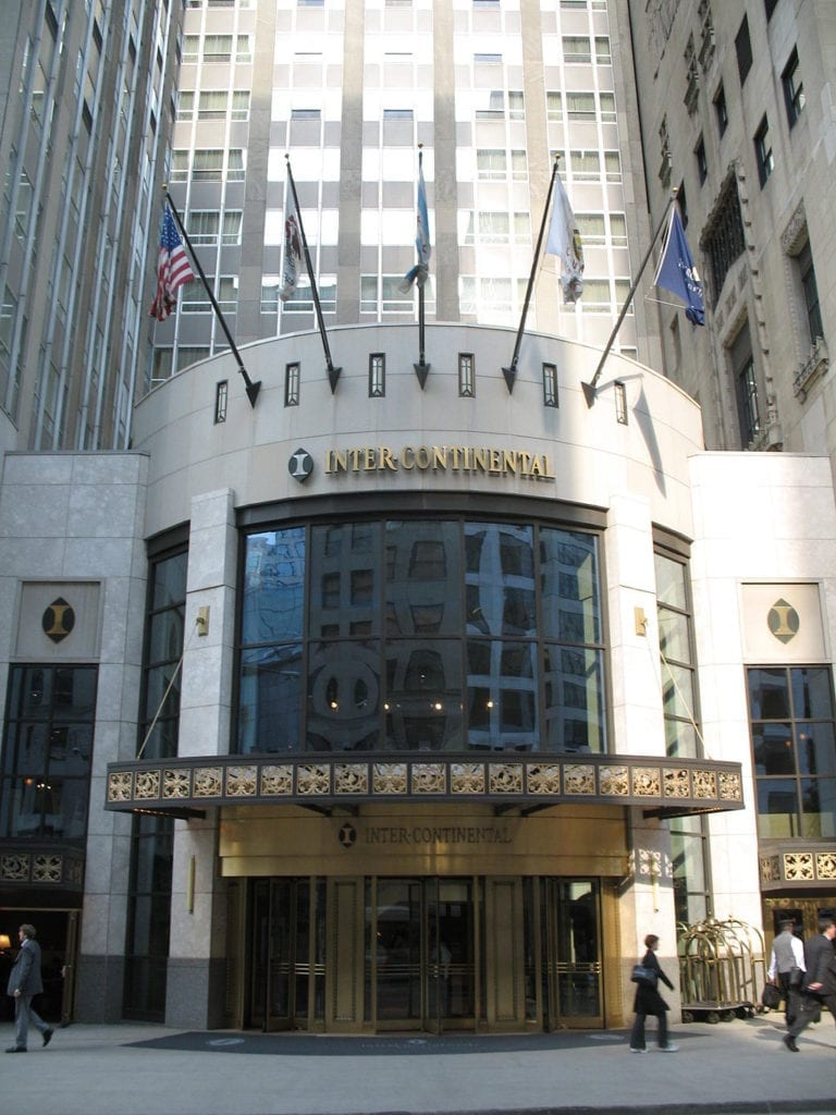 The entrance to the InterContinental Chicago, one of the historic downtown Chicago hotels.