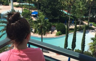 Aerial view from our room's balcony of the family pool area. Photo by Desiree Miller, Family Fun Mom.
