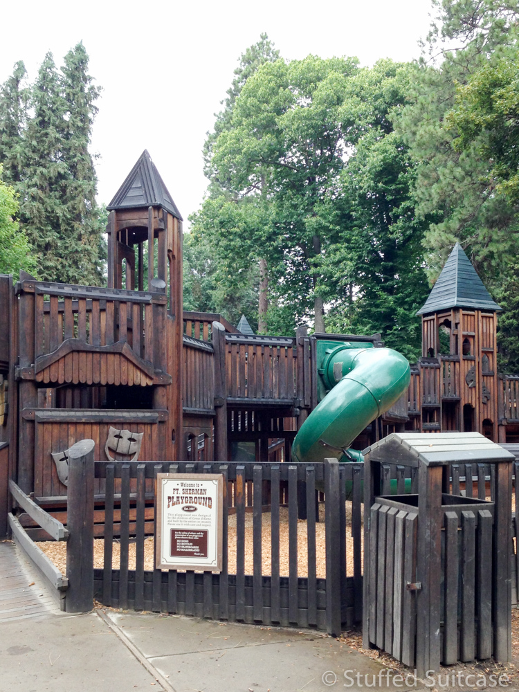 Kids will love to play and climb around the Ft Sherman Playground at City Park in Coeur d'Alene Idaho