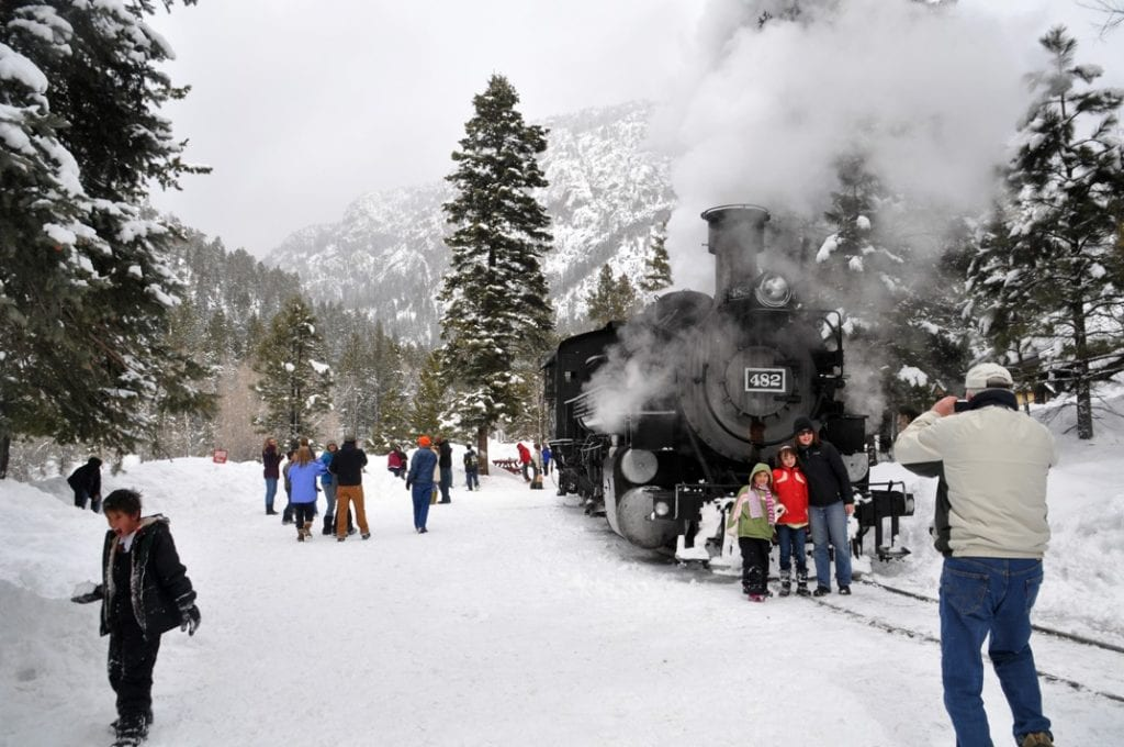 All aboard Durango & Silverton Narrow Gauge Christmas Tree Train. Photo: Durango Area Tourism Office