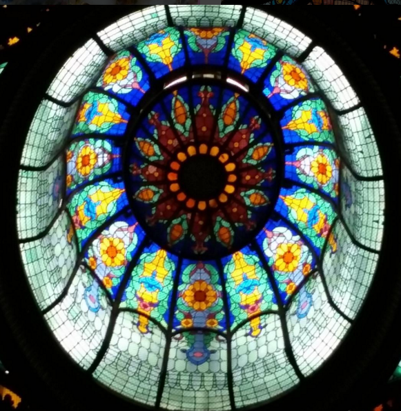 One of the Tiffany Glass Domes at the Gran Nacional Hotel, Mexico City. Photo by Dia Adams