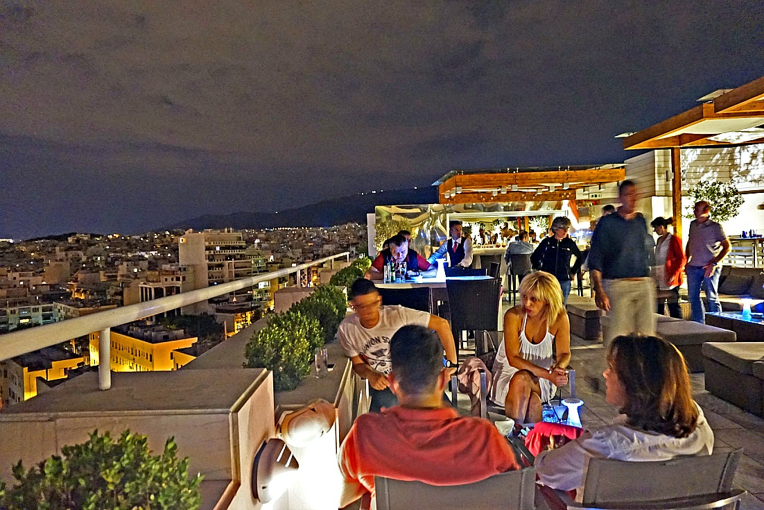 With IHG Rewards Club MasterCard free night I enjoyed a rooftop bar overlooking Athens and Acropolis at InternContinental Athenaeum Athens - photo by Yvonne Jasinski