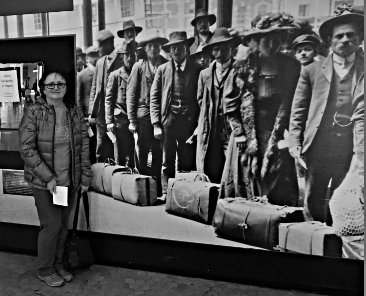 Ellis Island, faces of American immigrants with author Yvonne Jasinski - photo taken by Barb Straub