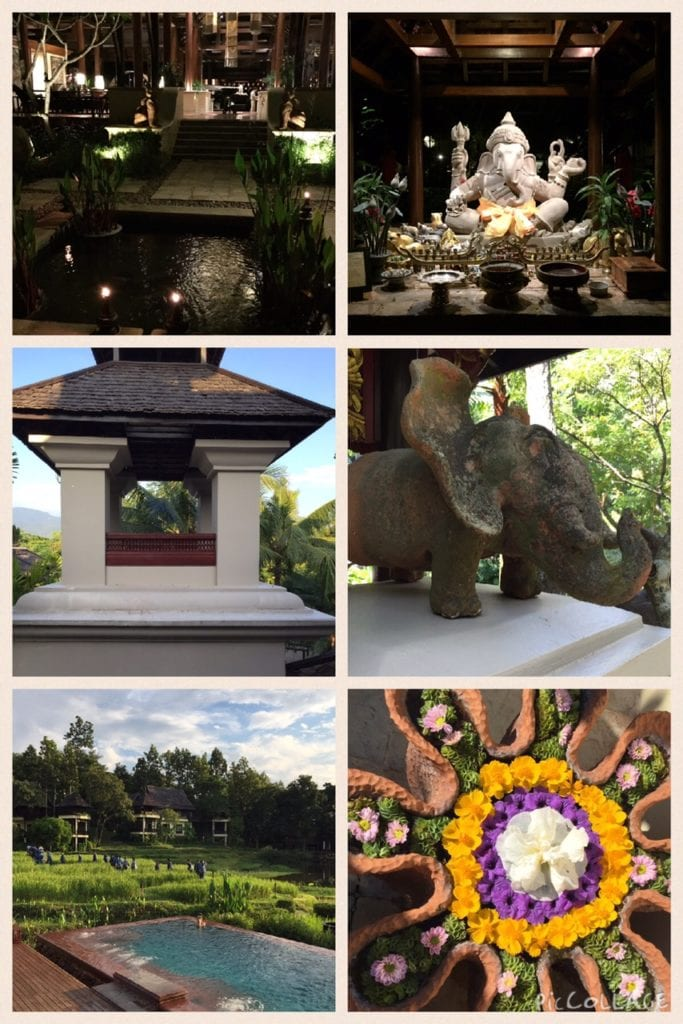 Clockwise: Lobby at night, Ganesh, Statues, Flower Water Features, Nightly Parade of Farmers, Architecture