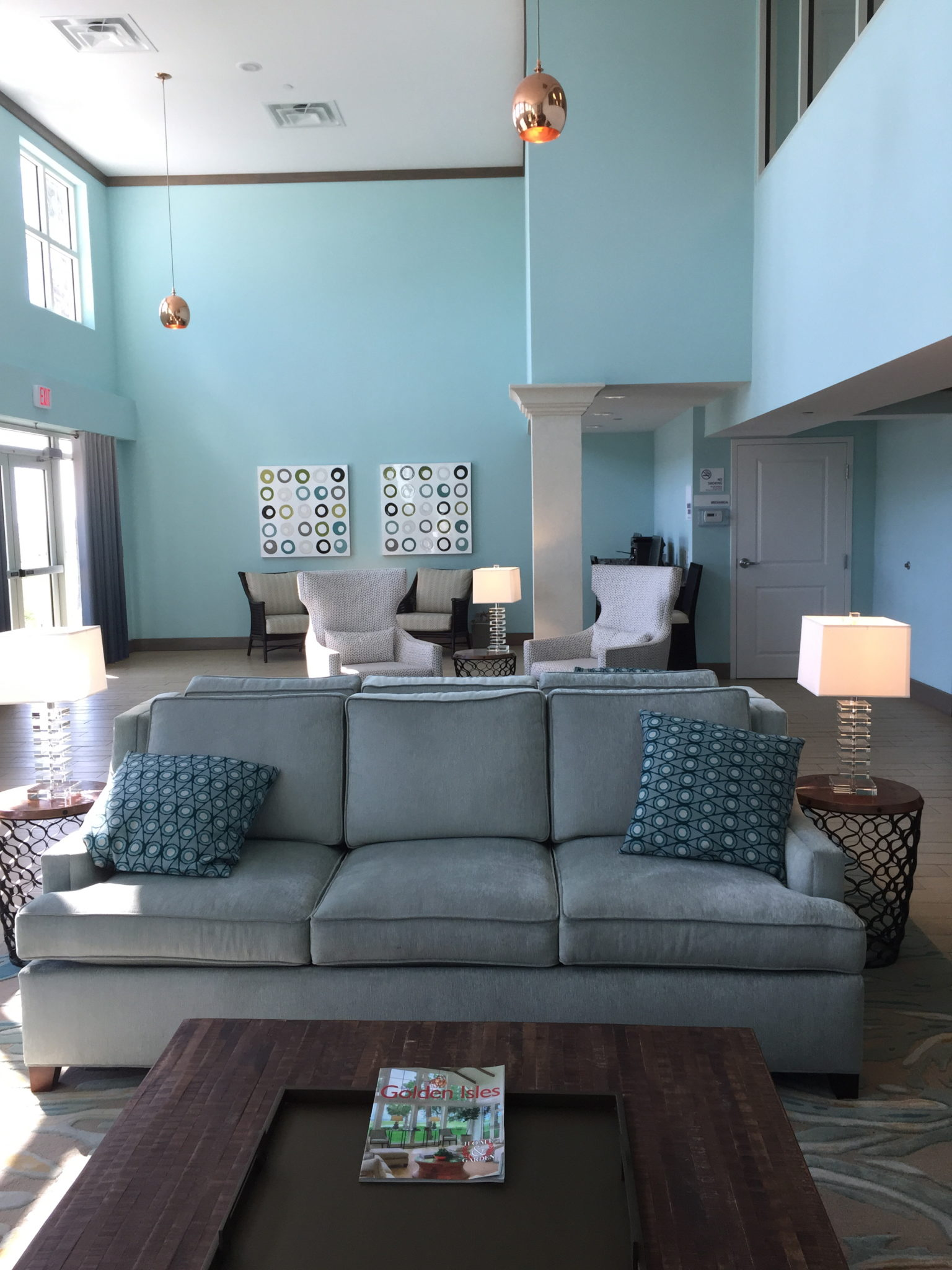 Lobby decorated in sea colors at the Holiday Inn on Jekyll Island