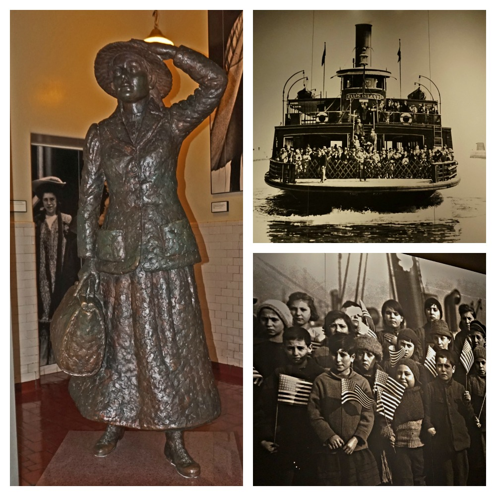 Ellis Island: Statue of Annie Moore, Liberty Ship, and immigrant children