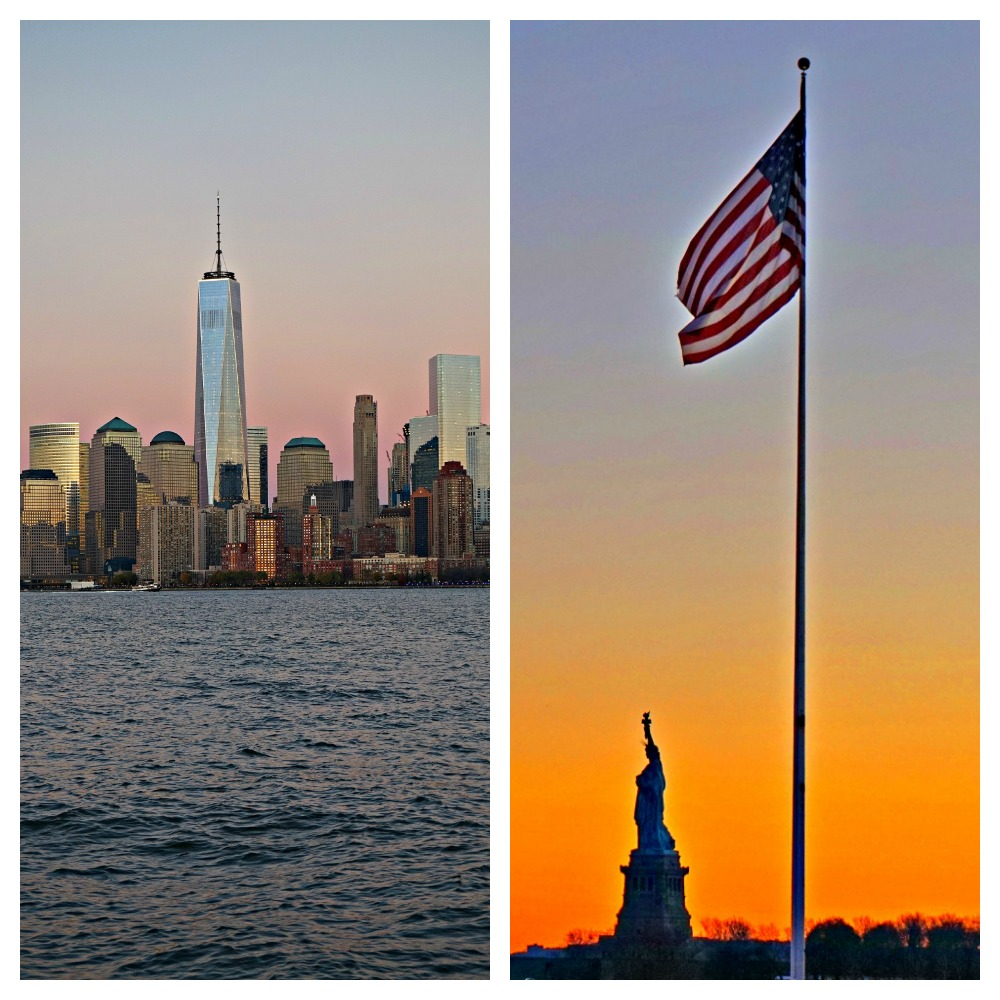 PicMonkeyEllis Island, gorgeous views over Manhattan and Statue of Liberty at Sunset - photo by Yvonne Jasinski Collage