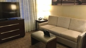 Sitting/working/TV area of the Residence Inn Chicago Downtown/Loop.