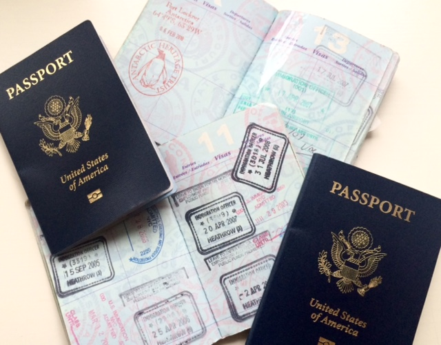 Closed and open passport books for kids