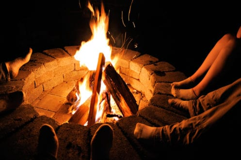 outdoor family fun around the campfire for New Year's Eve