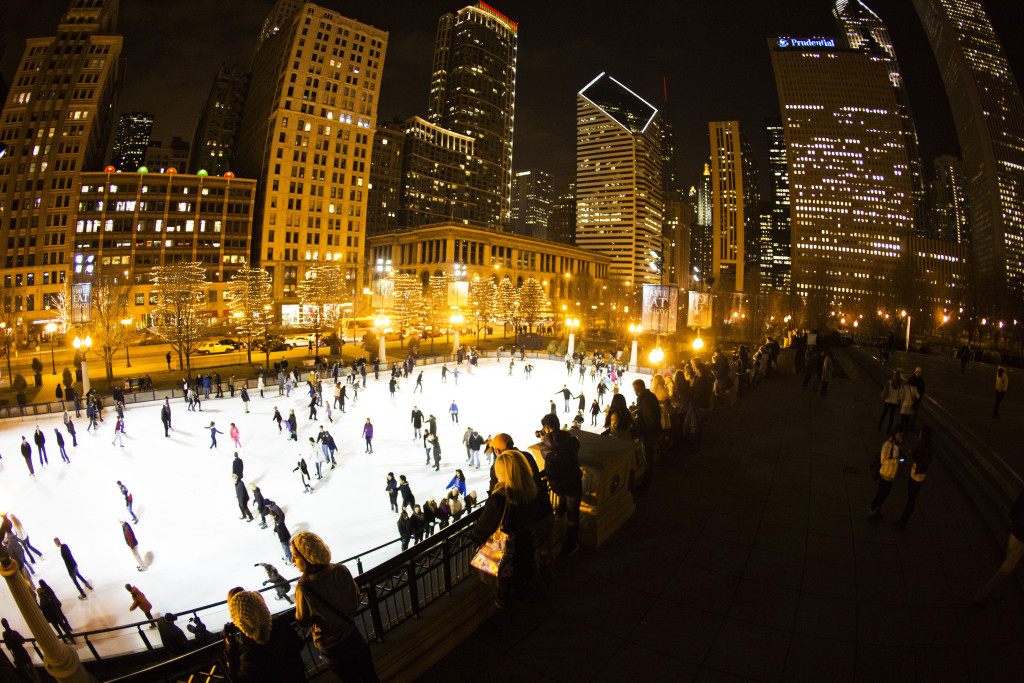 Chicago Holiday Guide: Families like to ice skate among skyscrapers.