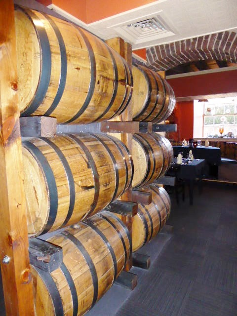 Rickhouse bourbon barrels.
